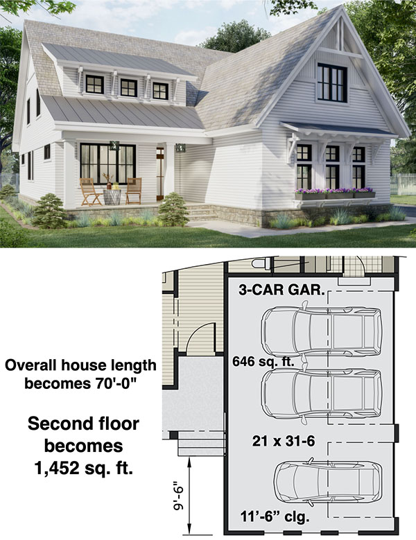 Two-story New American Home Plan with Laundry on Both Floors - 14697RK floor plan - 3-Car Side Garage Option