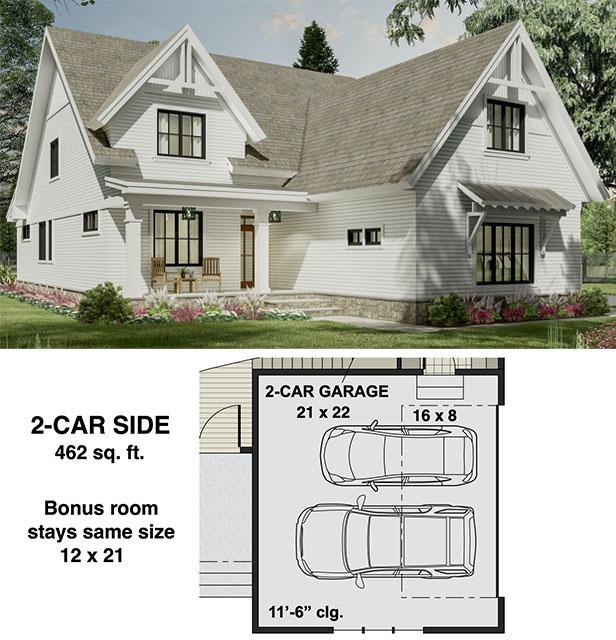Narrow Modern Farmhouse Plan with Home Office and Laundry On Both Floors  - 14700RK floor plan - 2-Car Side Garage Option