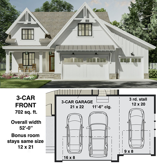 Narrow Modern Farmhouse Plan with Home Office and Laundry On Both Floors  - 14700RK floor plan - 3-Car Front Garage Option