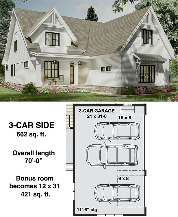 Narrow Modern Farmhouse Plan with Home Office and Laundry On Both Floors  - 14700RK floor plan - 3-Car Side Garage Option