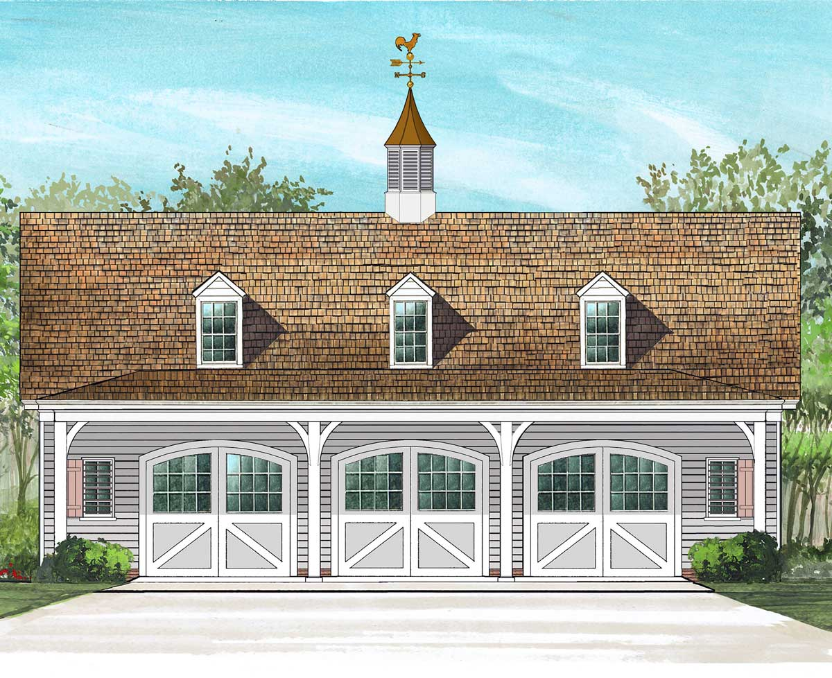 3 Car Carriage House Plan 32626wp Architectural