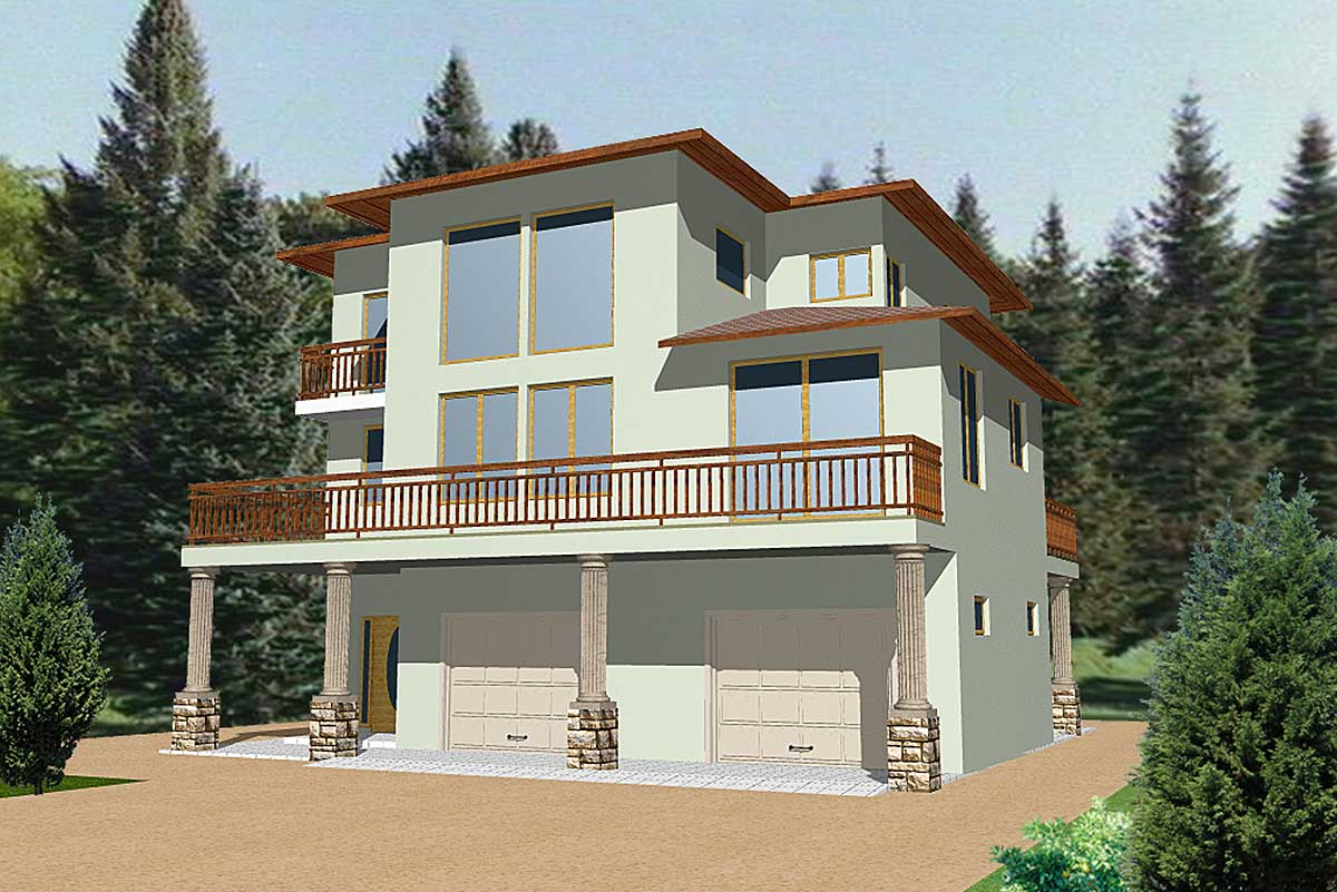 Contemporary Mountain Home Plan - 35086GH | Architectural ...