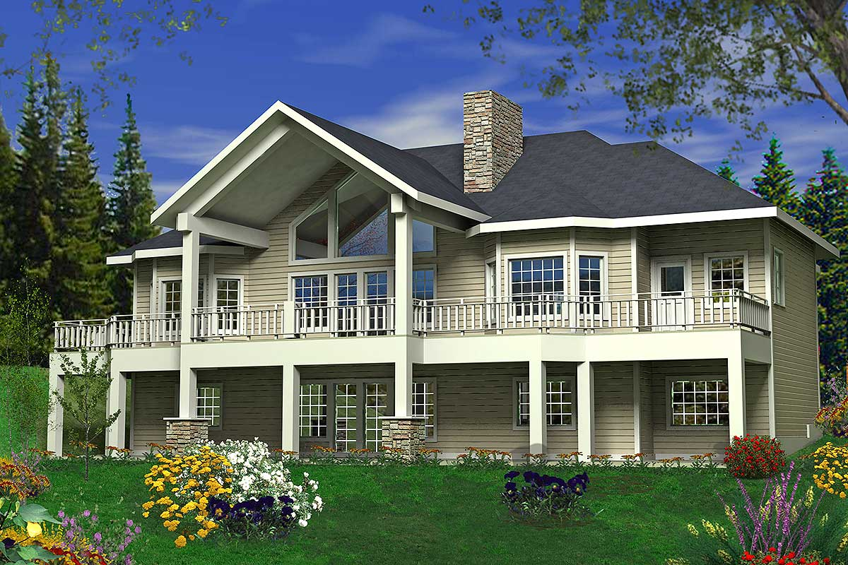 great floor plans sloping lot home plan with great rear facing views 35394gh architectural designs house plans 4062