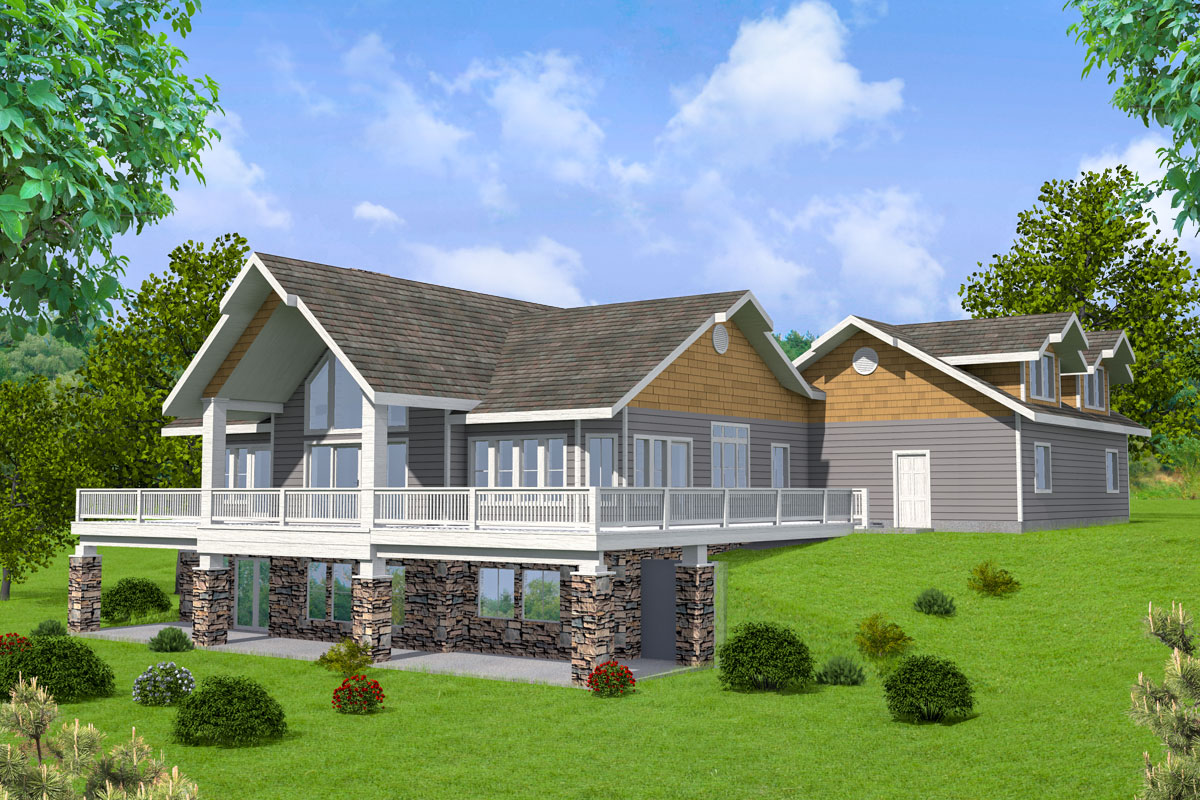 Mountain House Plan with Two Open Decks and a Covered ... on Back Deck Designs For Houses id=40825
