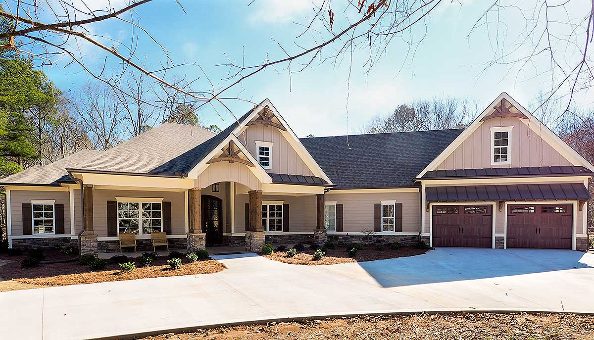 Craftsman House Plan With Angled 2 Car Garage 36031dk Architectural Designs House Plans