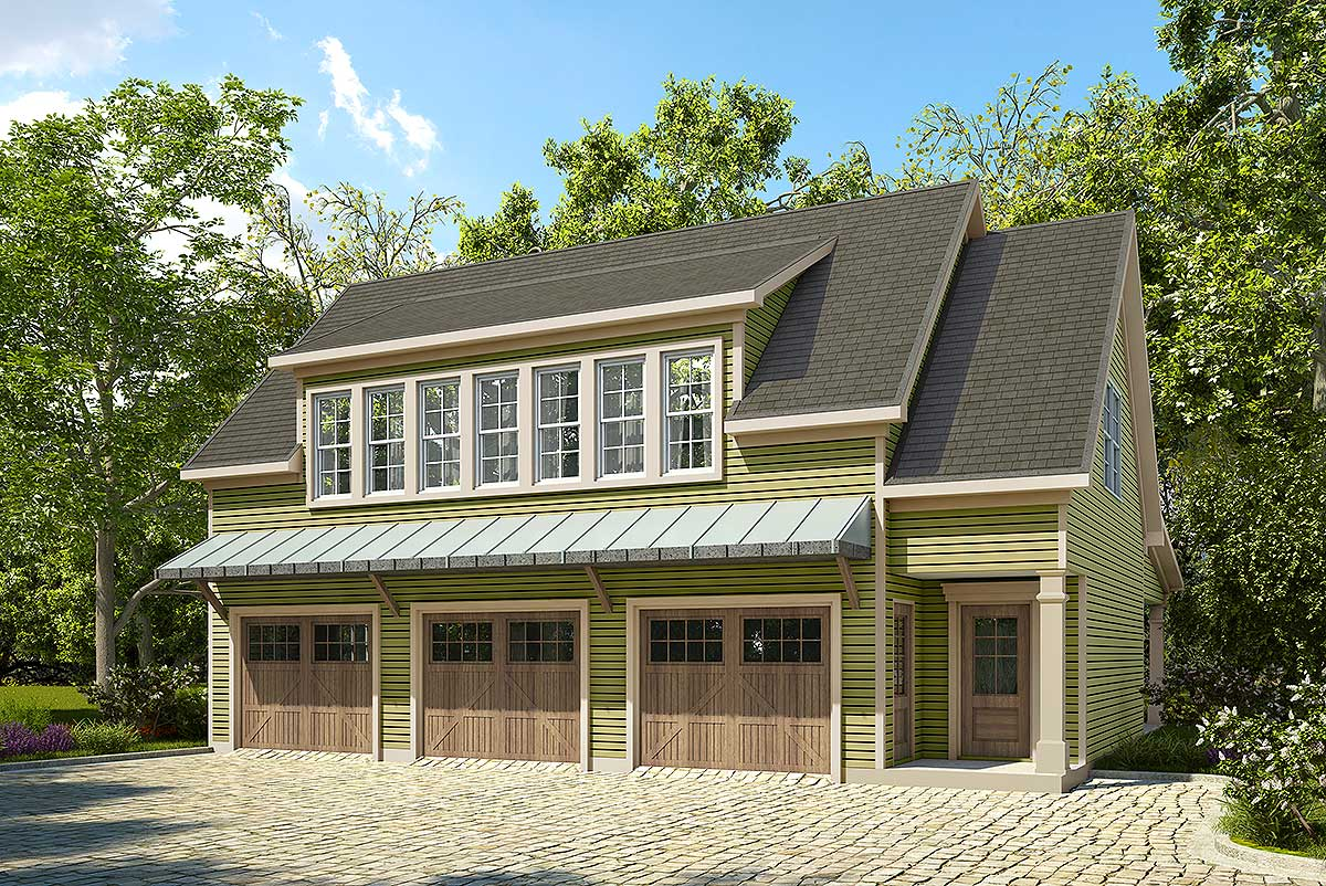 3 Bay Carriage House Plan with Shed Roof in Back - 36057DK ...