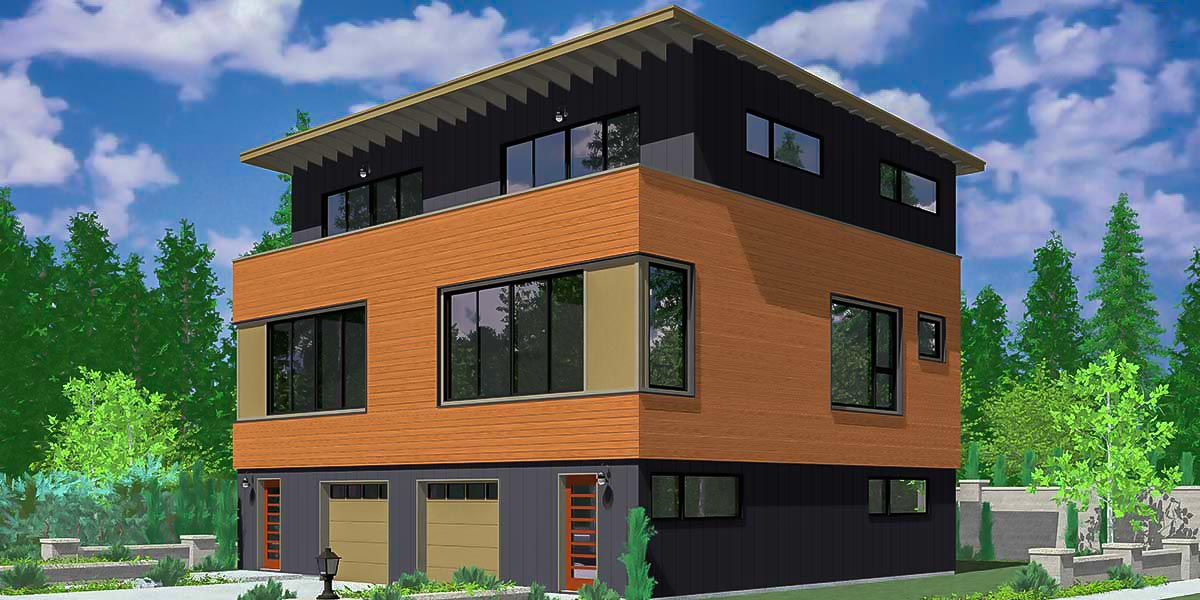 Modern Duplex House Plan 38021lb Architectural Designs House Plans