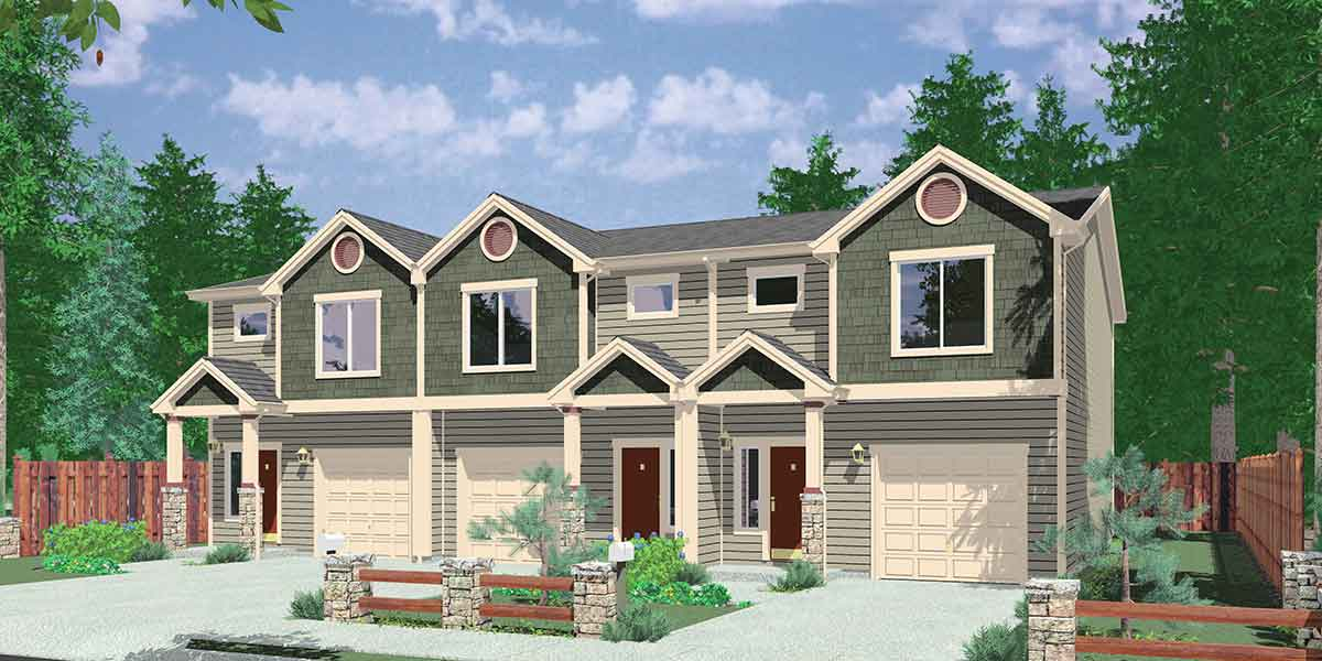 Triplex House Plan With 3 Bedroom Units 38027lb