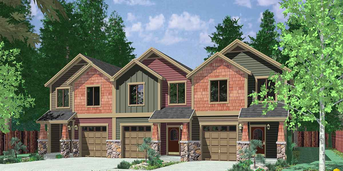 2 Bed Triplex House Plan 38029lb Architectural Designs