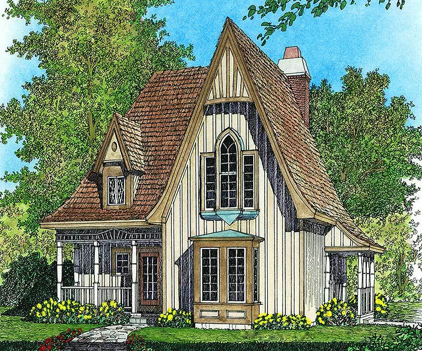 Gothic House Plans | Charming Gothic Revival Cottage 43002pf Architectural Designs