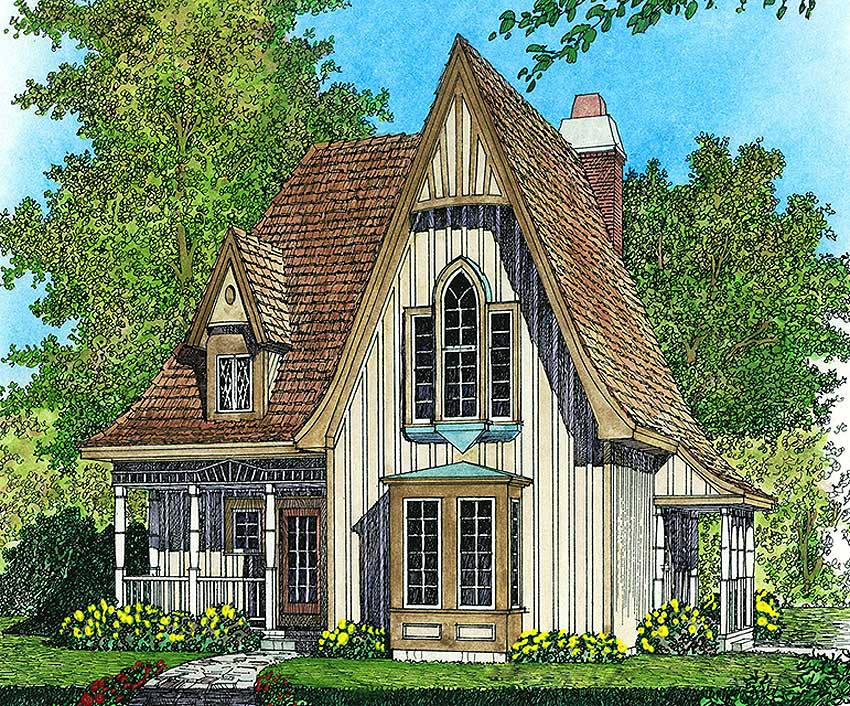 Tiny Home Designs: Charming Gothic Revival Cottage - 43002PF