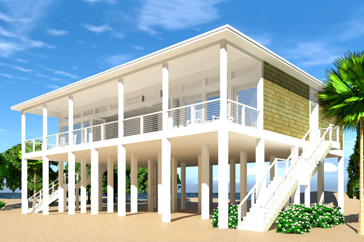 Modern Piling Loft-Style Beach Home Plan - 44073TD ...