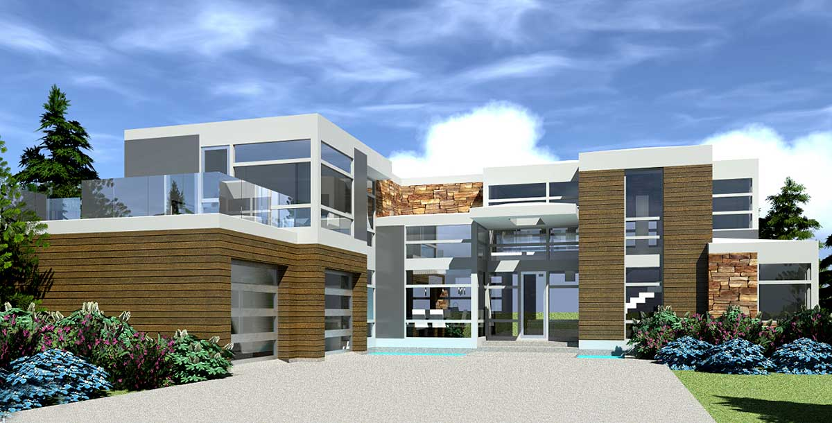 Modern Ultimate Entertaining House Plan - 44121TD ... on Modern House Ideas  id=61236