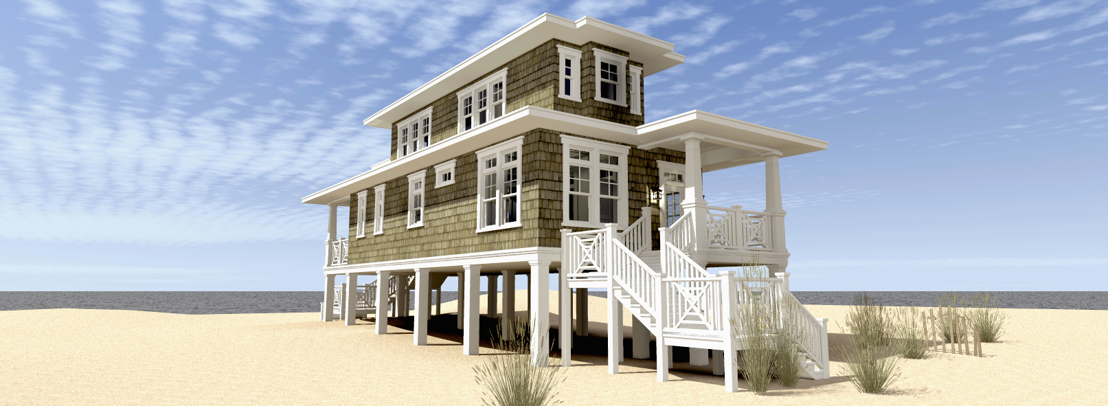 beach house plan with walkout sundeck 44124td architectural rh architecturaldesigns com  beach cottage house plans with photos