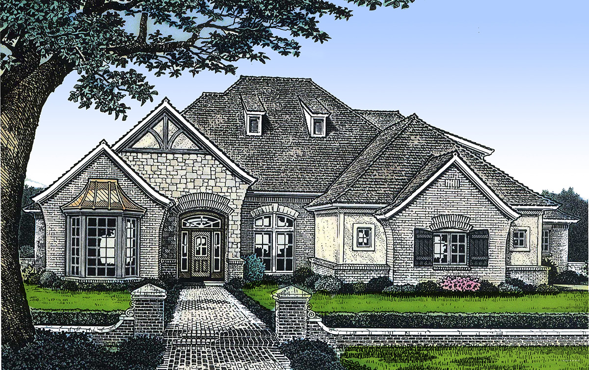 European House Plan With Vaulted Great Room