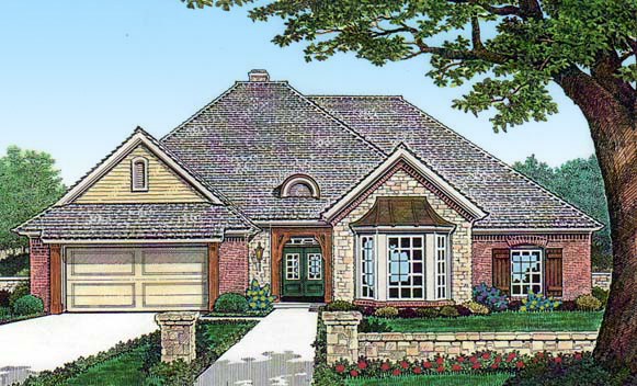Tandem Garage House Plans: European House Plan With Tandem Garage