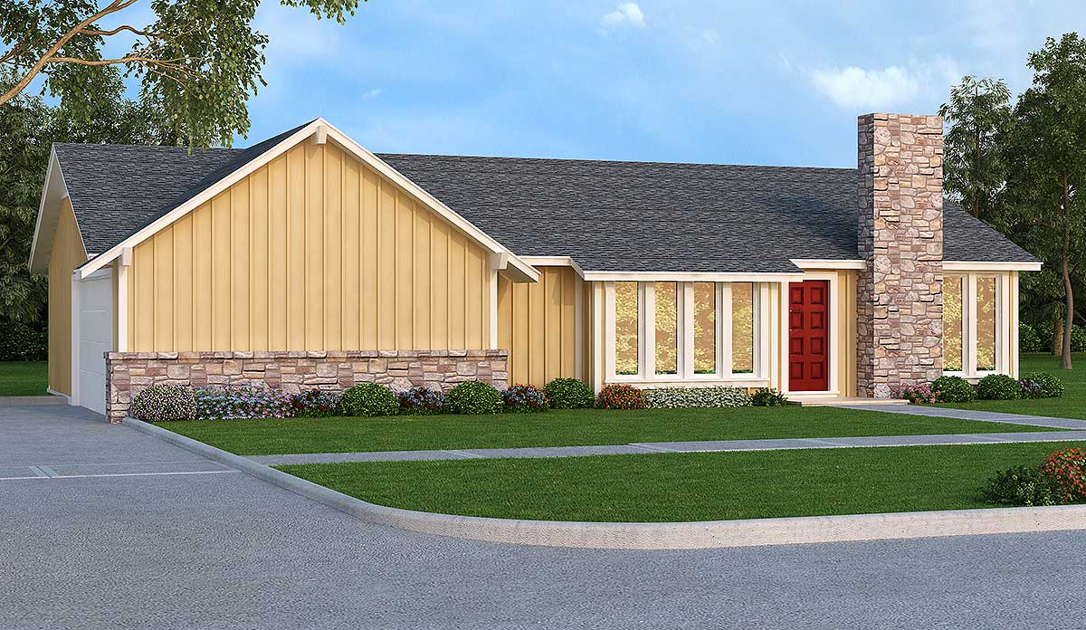 Contemporary House Plan with Patio Access - 55151BR ...