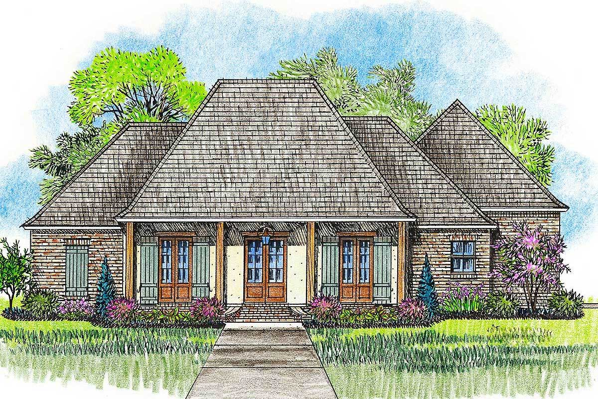 Acadian House Plan With Great Rear Porch 56379sm Architectural Designs House Plans