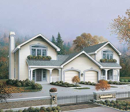 Plan 57088HA: Compact Two-Story Duplex