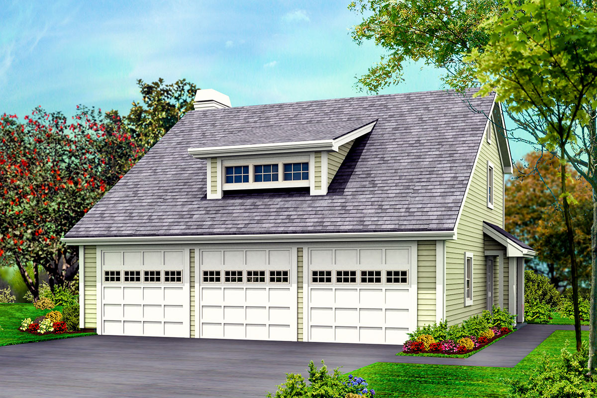 Three Car Garage With Rear Apartment 57114ha Architectural Designs House Plans