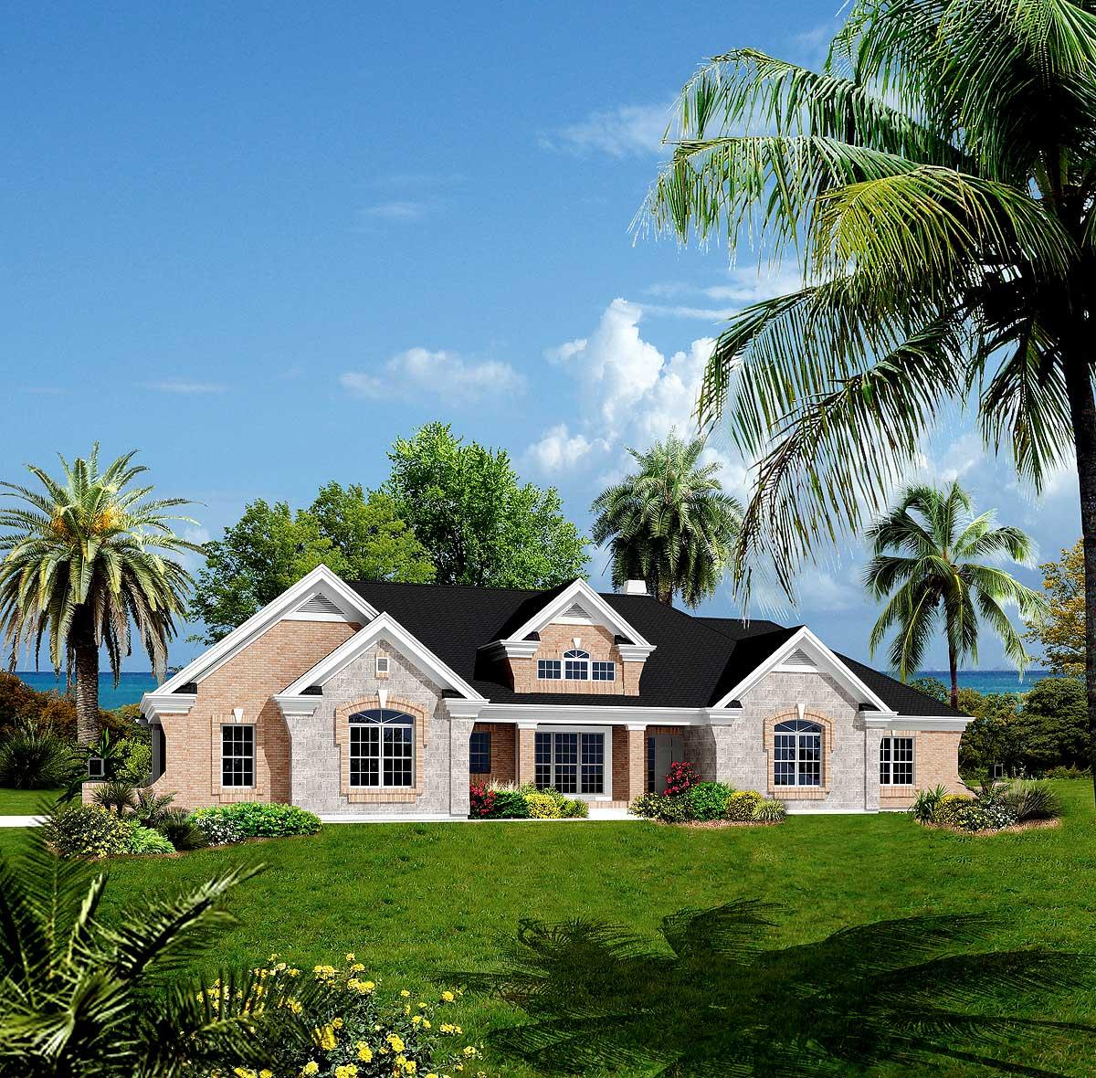 Atrium Ranch Home Plan with Sunroom - 57155HA ...