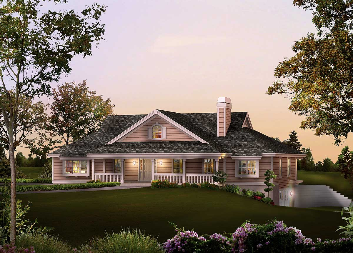 Plan 57229HA: Ranch Home Plan with Sunroom on ranch homes with landscaping, ranch homes with windows, split level homes with floor plans, craftsman homes with floor plans,