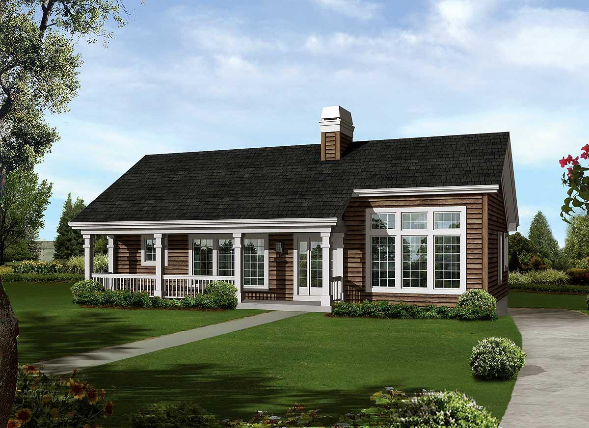 Economical Atrium Ranch Home Plan