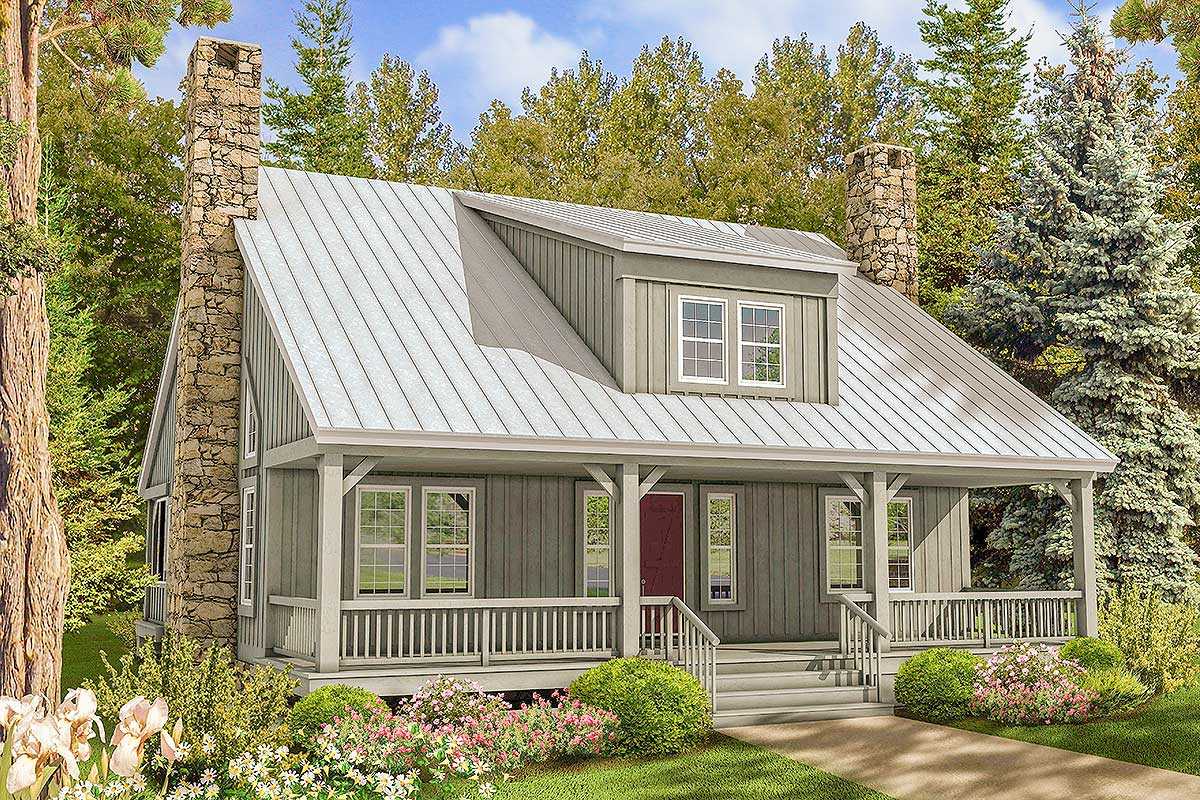 Big Rear And Front Porches 58555sv Architectural