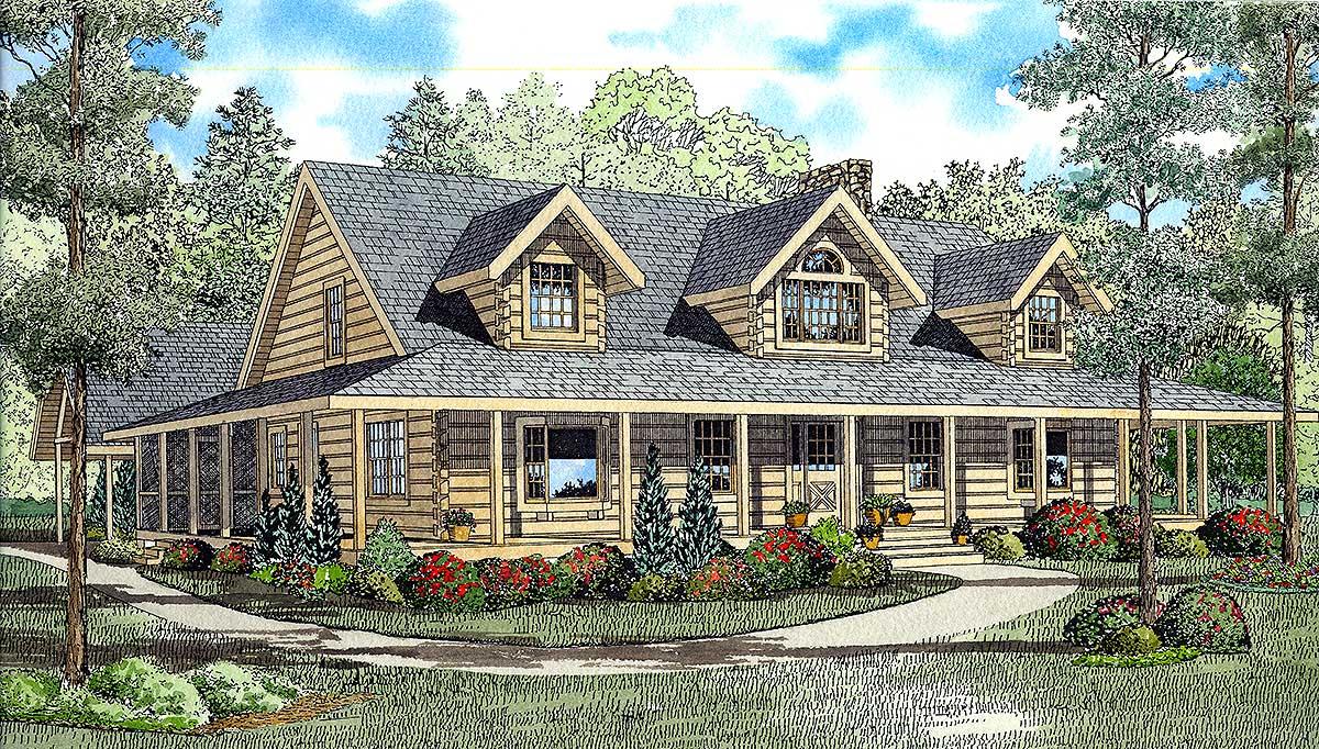 Log Home Plan with Wraparound Porch 59008ND