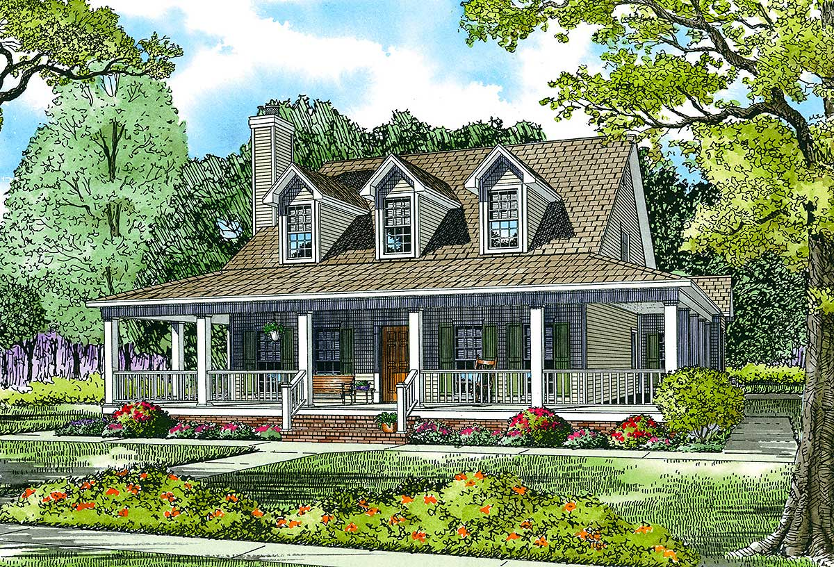 Country Home Plan With Wonderful Wrap-Around Porch