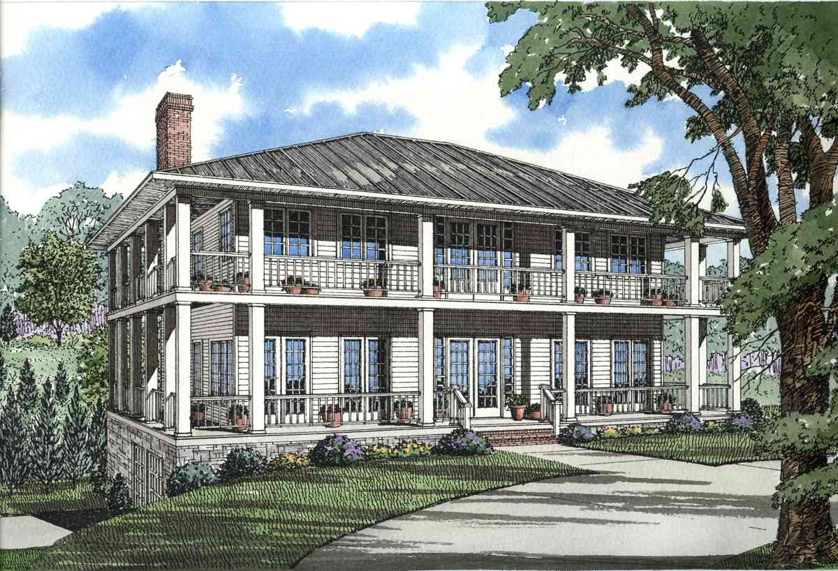 Stately southern design with wrap around porch 59463nd architectural designs house plans