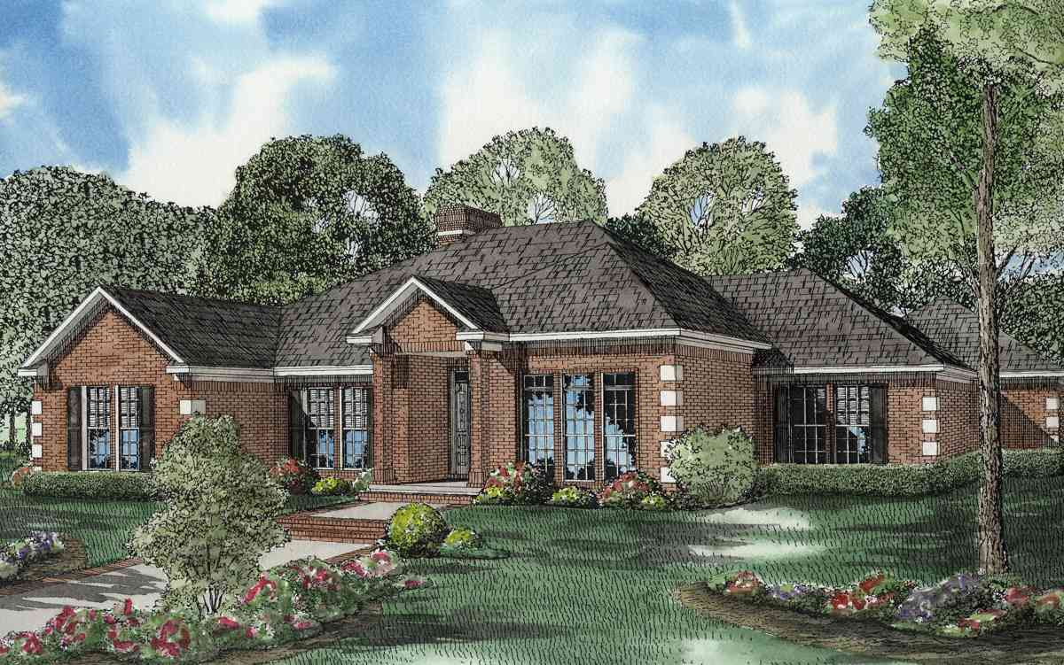One Level Traditional Brick House Plan 59640nd Architectural Designs House Plans