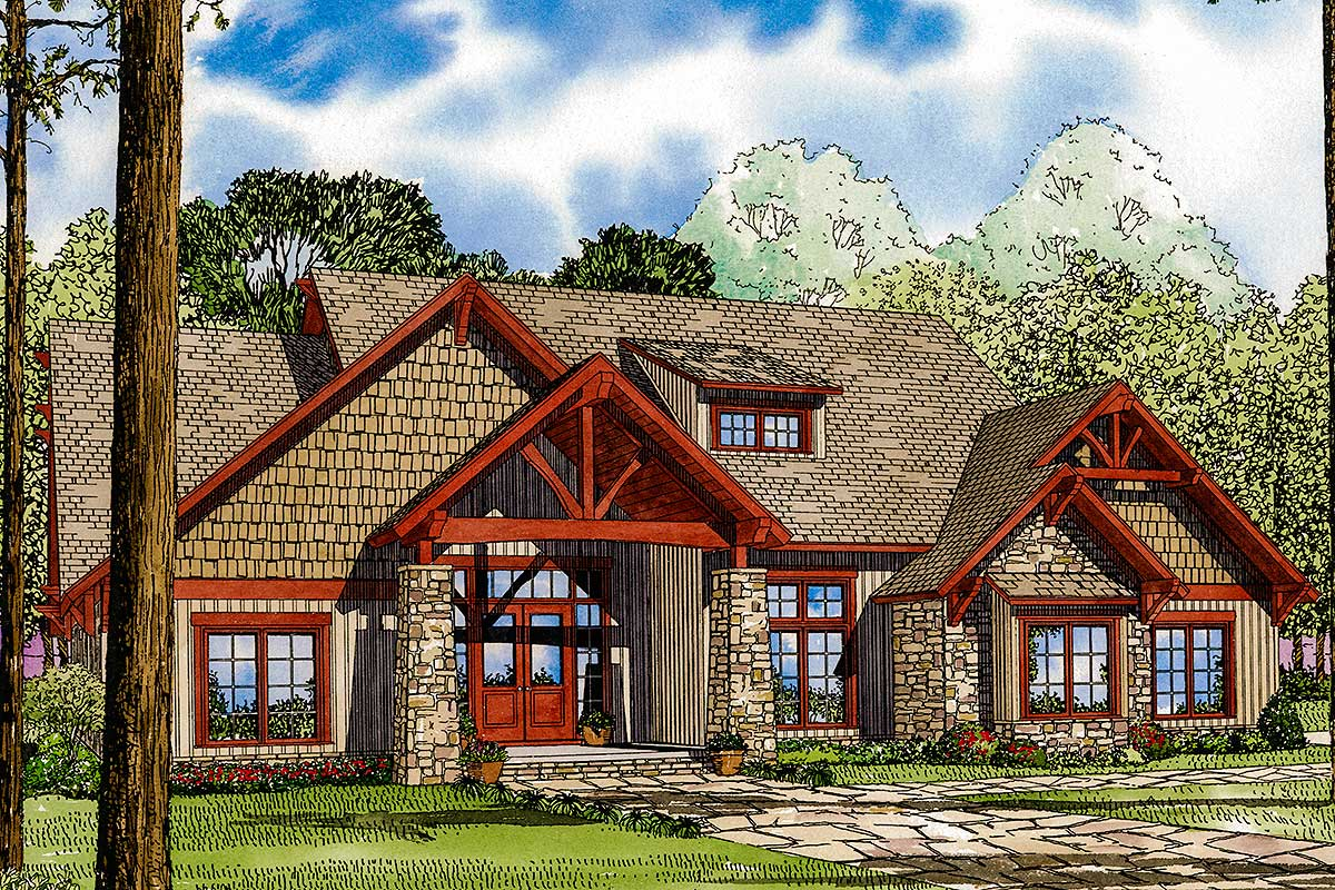 Rich And Rustic 4-Bed House Plan - 59977ND