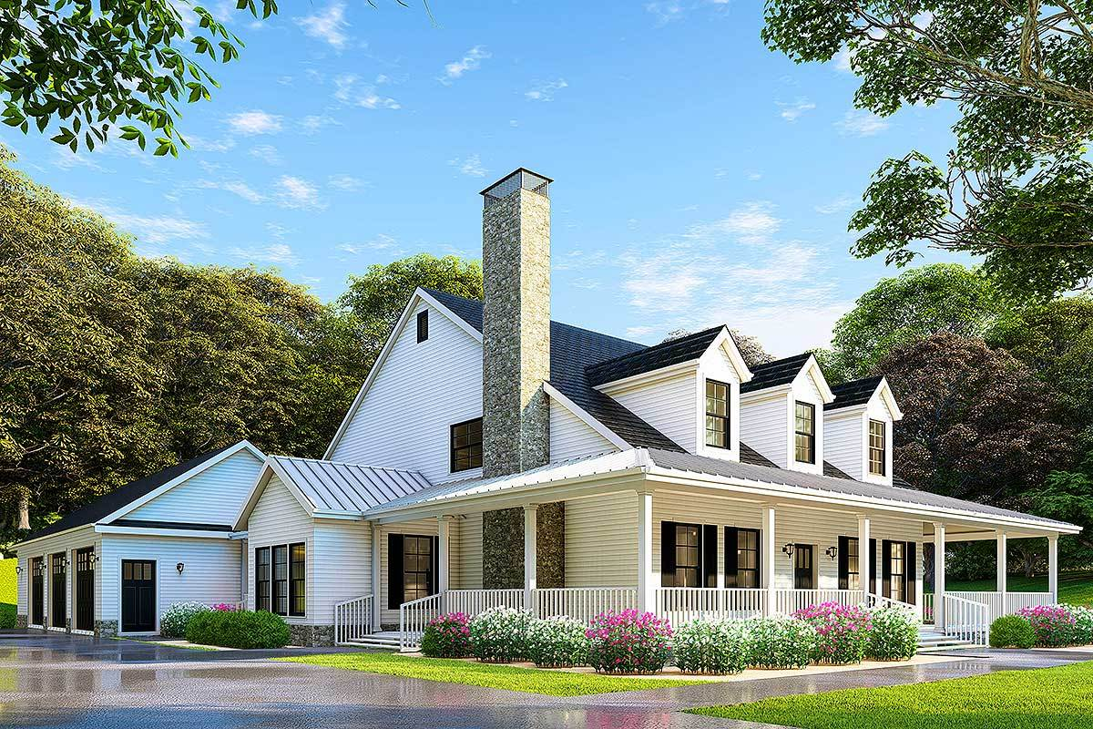 Country Home Plan With Wonderful Wraparound Porch 60586nd Architectural Designs House Plans