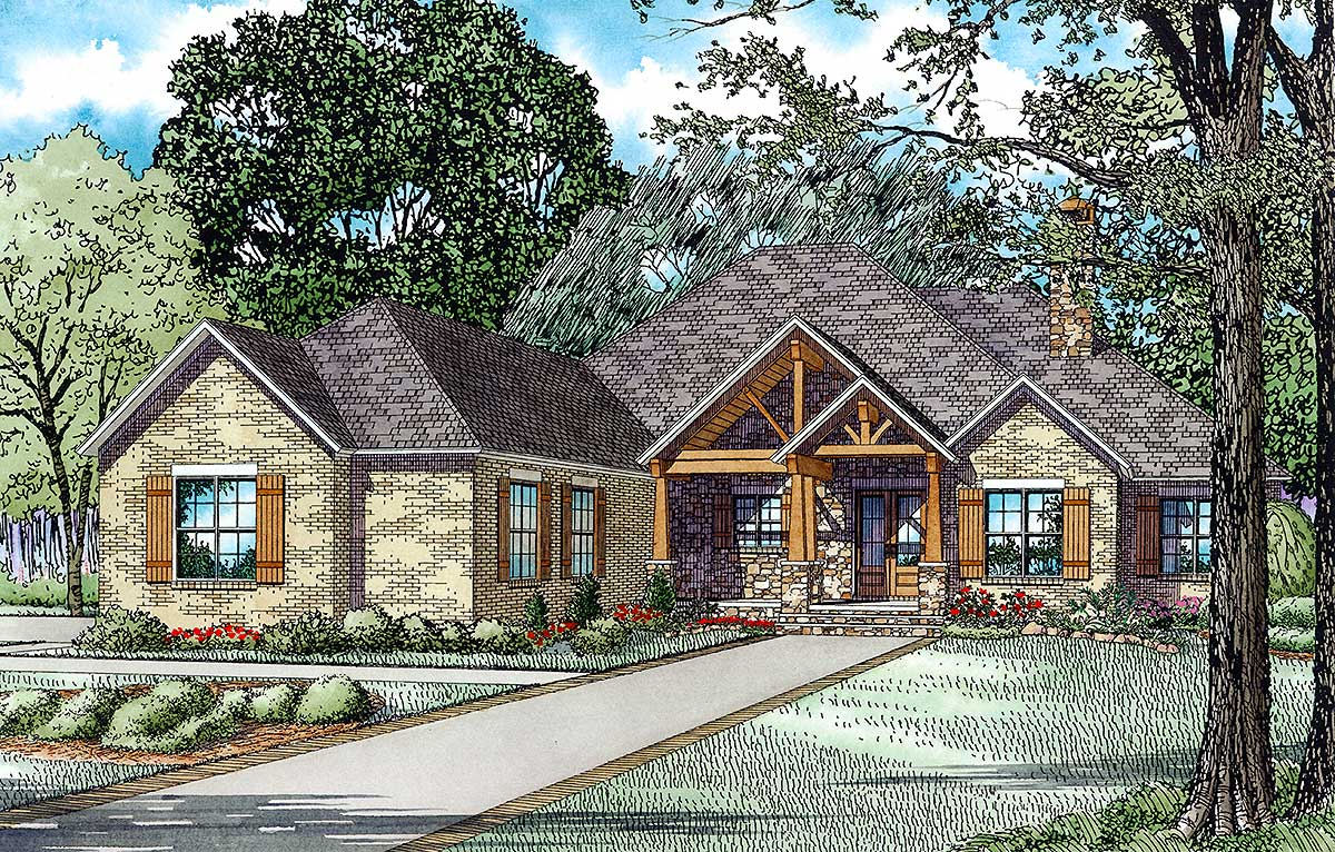 Rustic Brick Ranch Home With Sunroom 60603nd