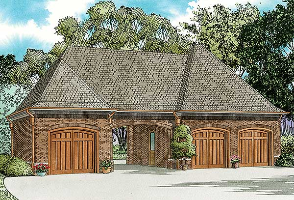 3 Car Garage With Porte Cochere 60666nd Architectural