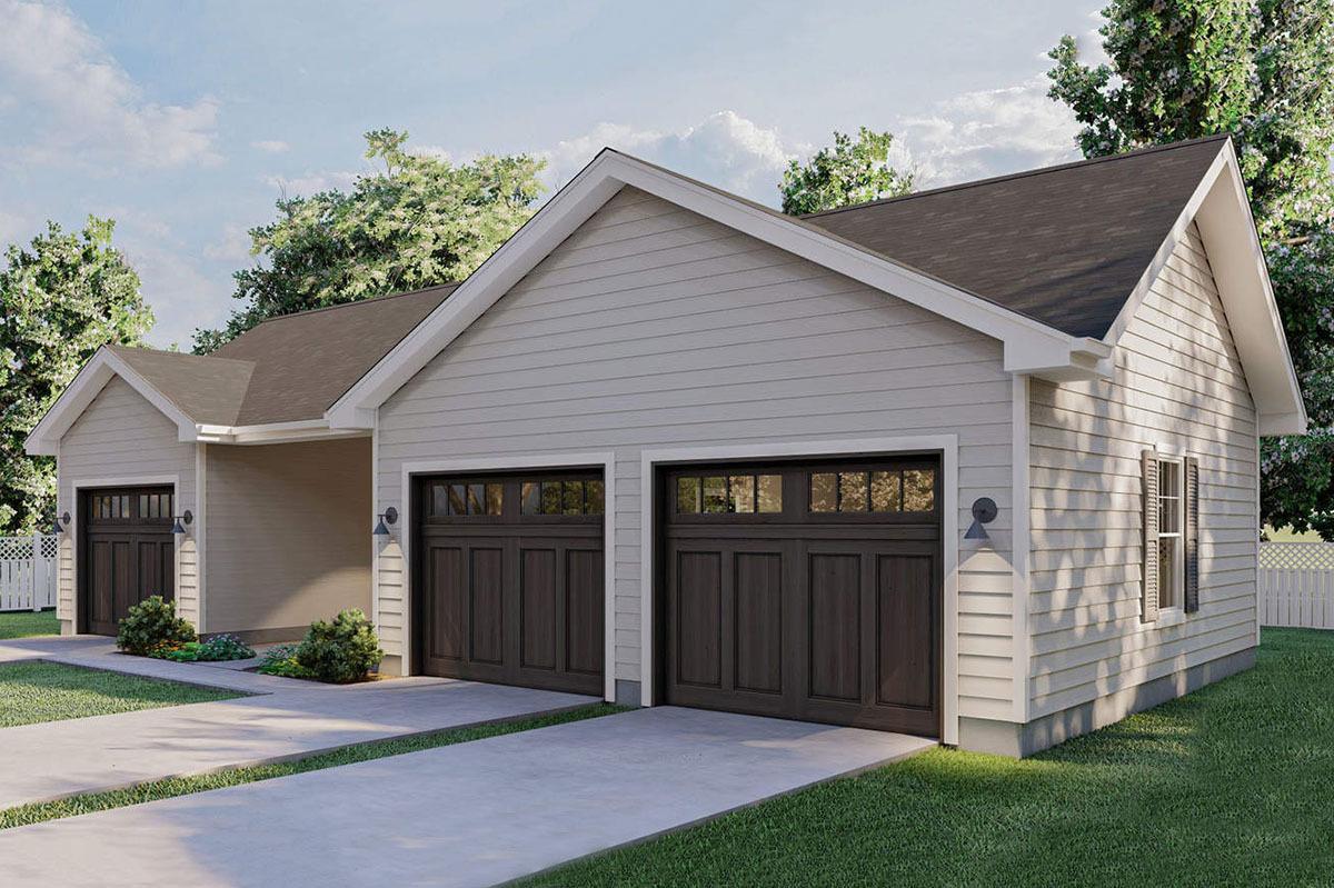 3 Car Garage Plus Carport 62479dj Architectural Designs House Plans
