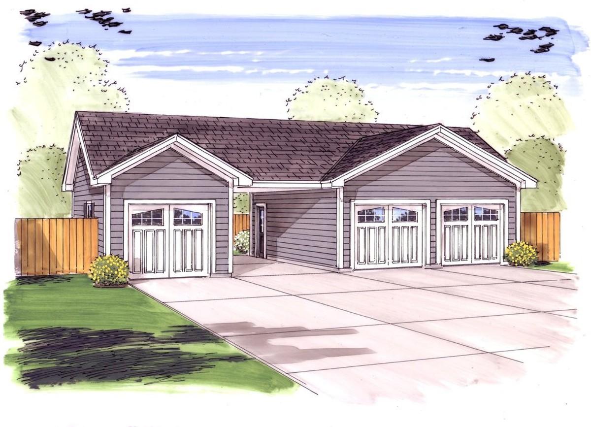 3 Car Garage Plus Carport - 62479DJ | Architectural ...