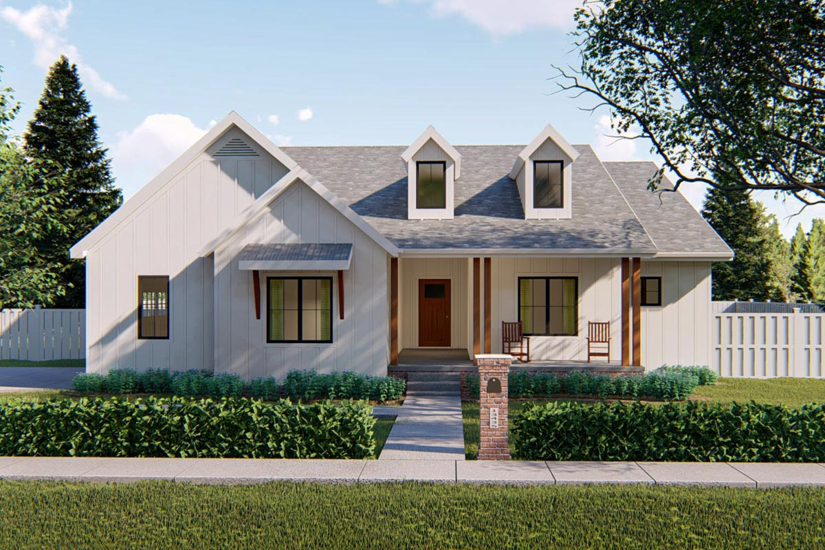 Compact Modern Farmhouse Ranch Home Plan - 62500DJ ...
