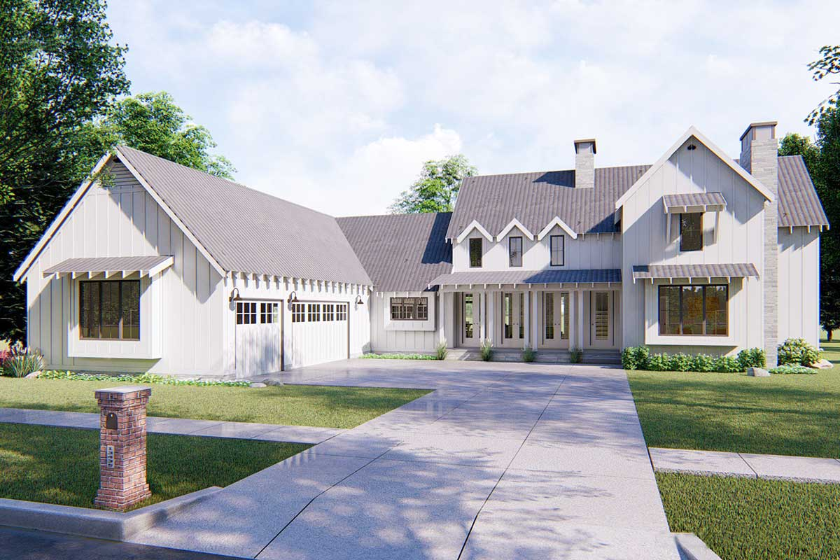 Modern 4 Bedroom Farmhouse Plan - 62544DJ | Architectural ...