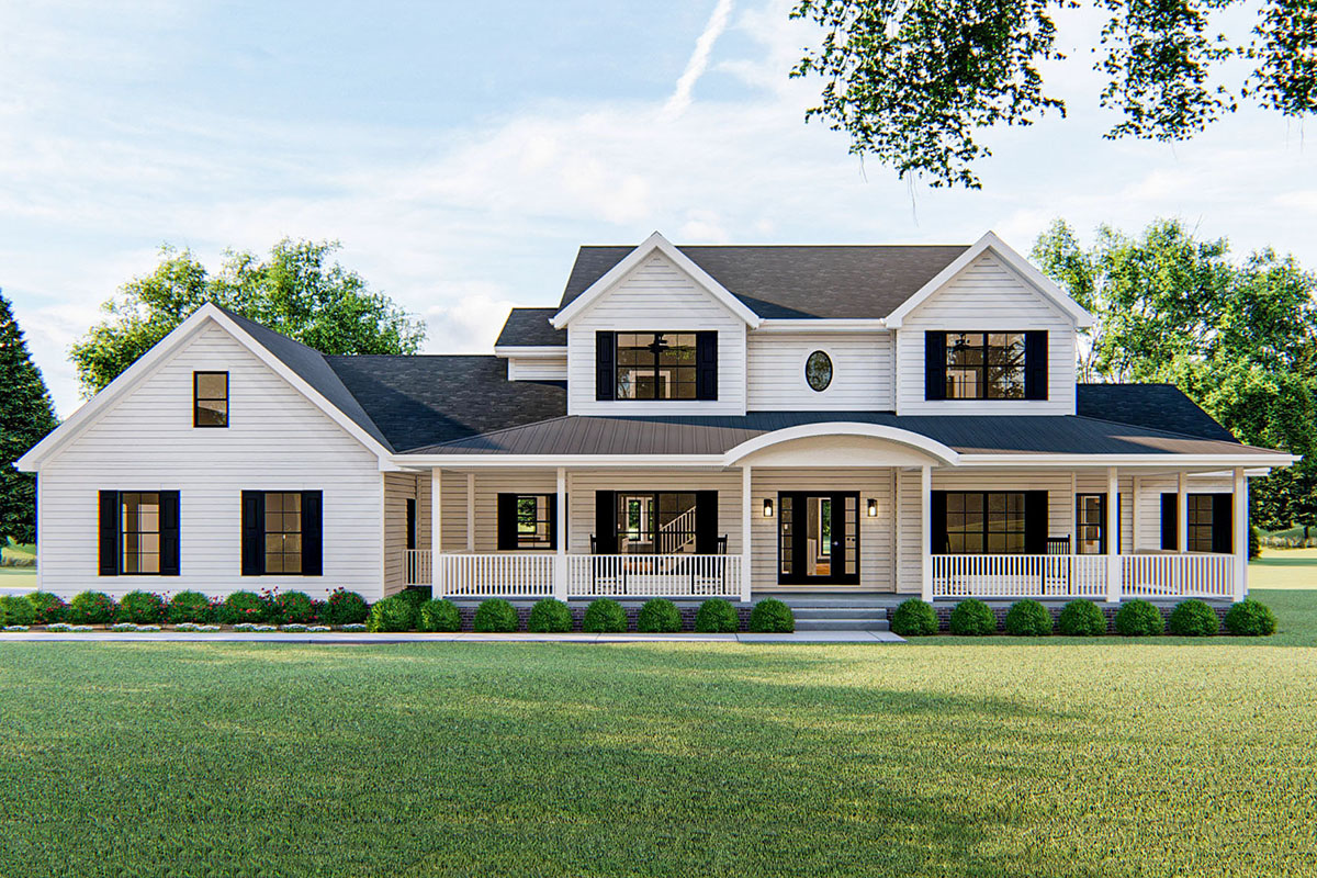 4-Bed Farmhouse Plan with 2-Story Family Room - 62580DJ ...