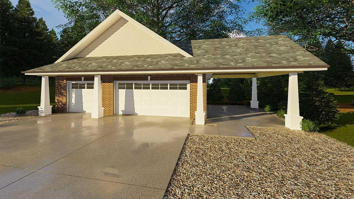 Car Craftsman Garage Carport Architectural Designs House Plans
