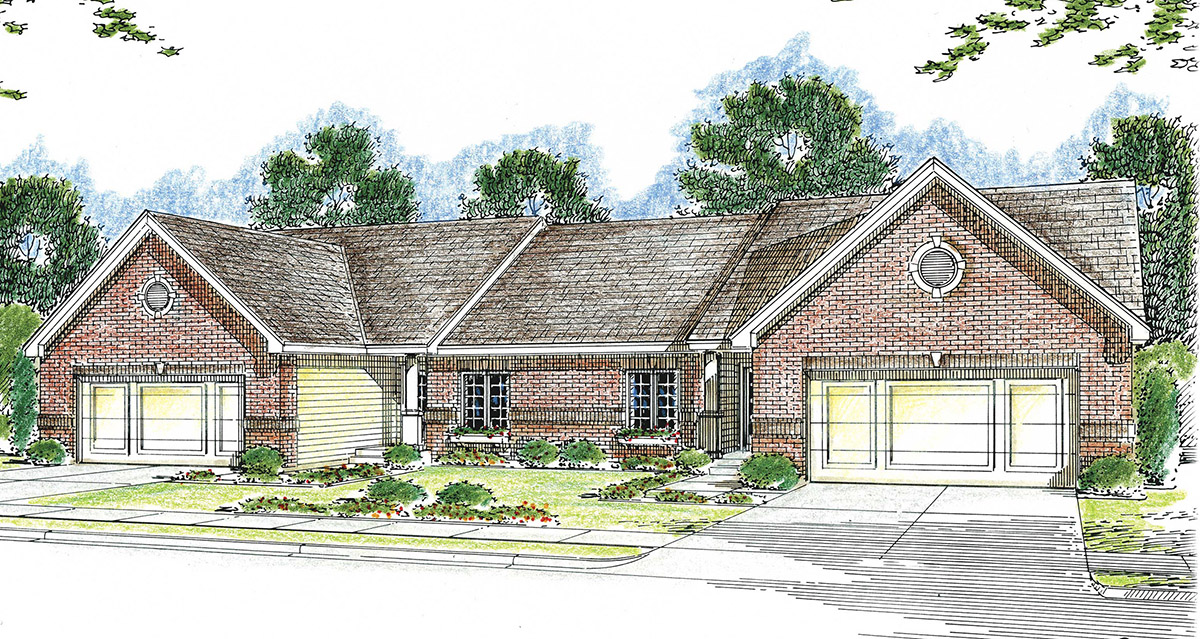 Modest Ranch Duplex House Plan 62610dj Architectural