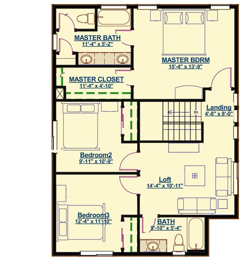 Three Bedrooms and a Second Floor Loft - 64419SC ...