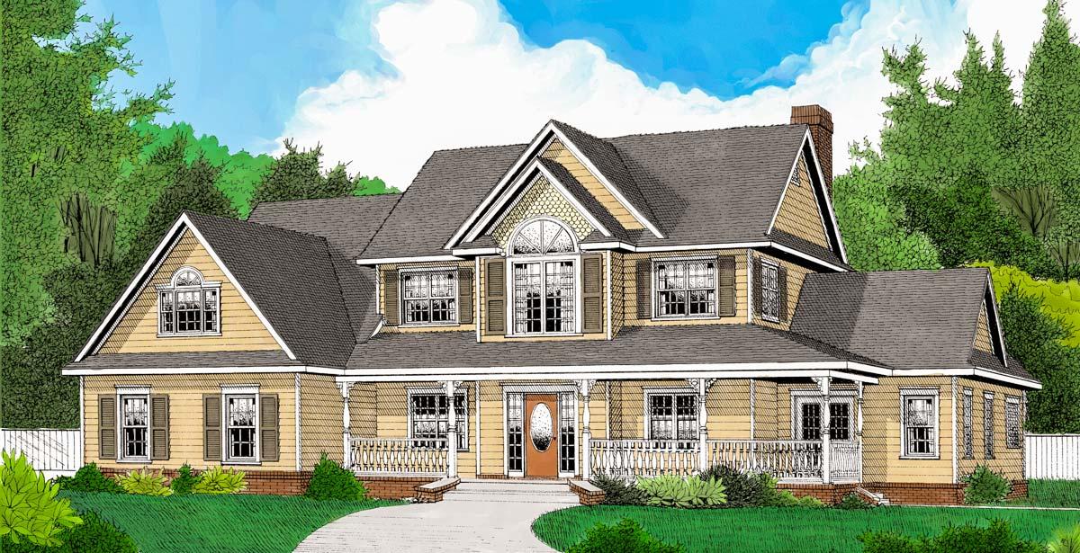 Four Bedroom Country Farmhouse Plan 6544rf