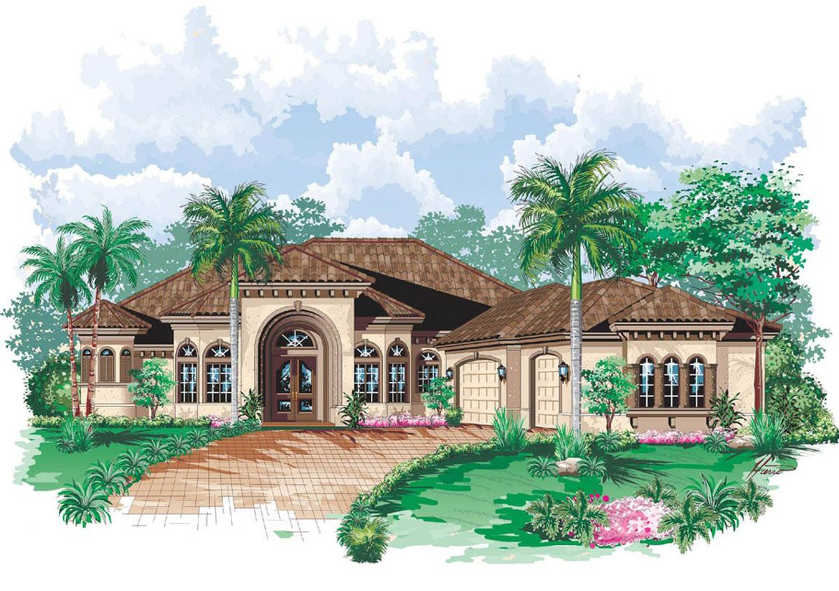 Symmetrical Clean Facade 66073we Architectural Designs
