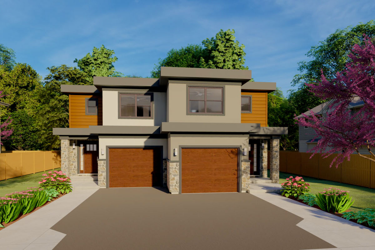 Duplex House Plan For The Small Narrow Lot - 67718MG ...