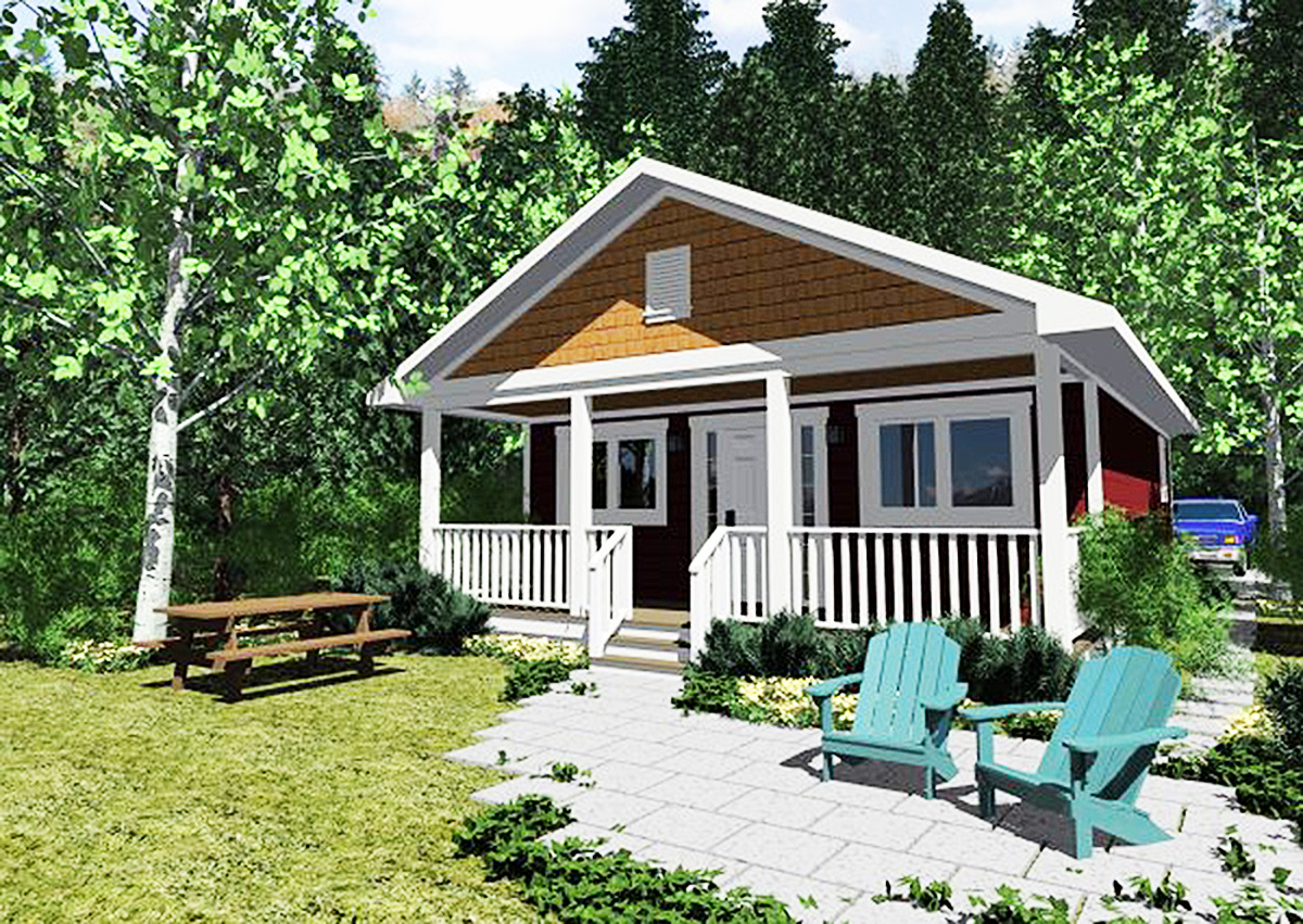 Tiny Home Designs: Tiny Cottage Home With Covered Front Porch