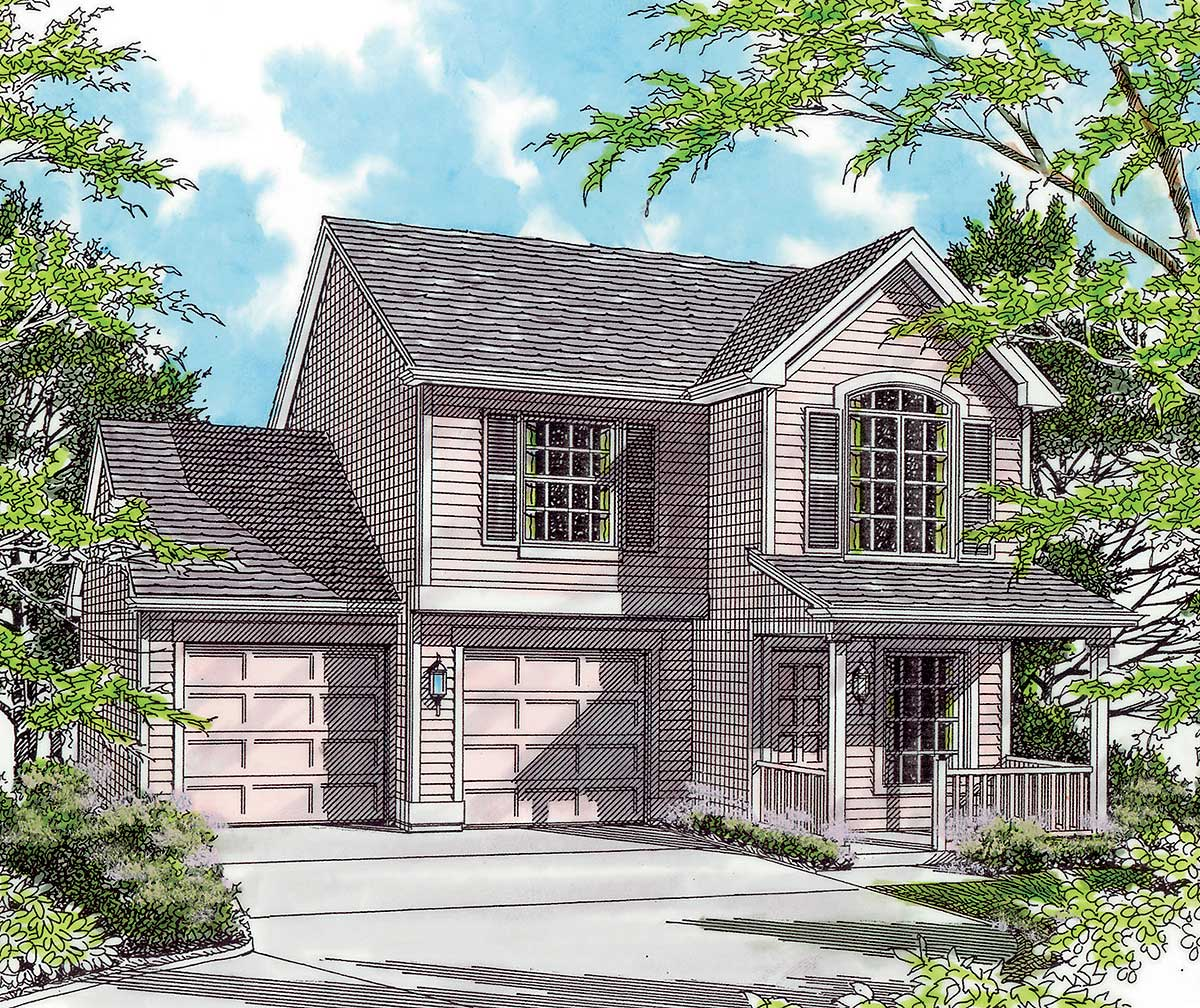 House Design: Narrow Lot With Garage Options - 69177AM