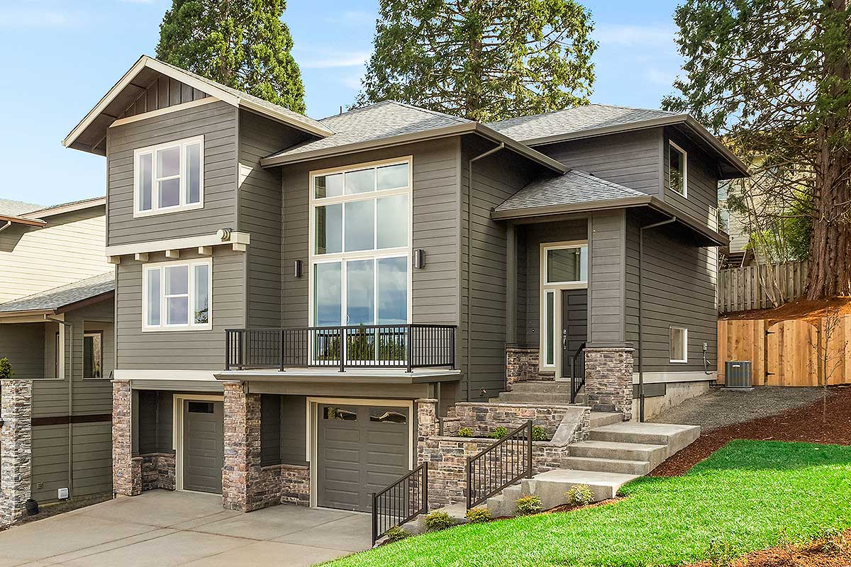 For a Front-Sloping Lot - 6924AM | Architectural Designs ...